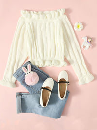 Girls Ribbed Knit Ruffle Hem Sweater