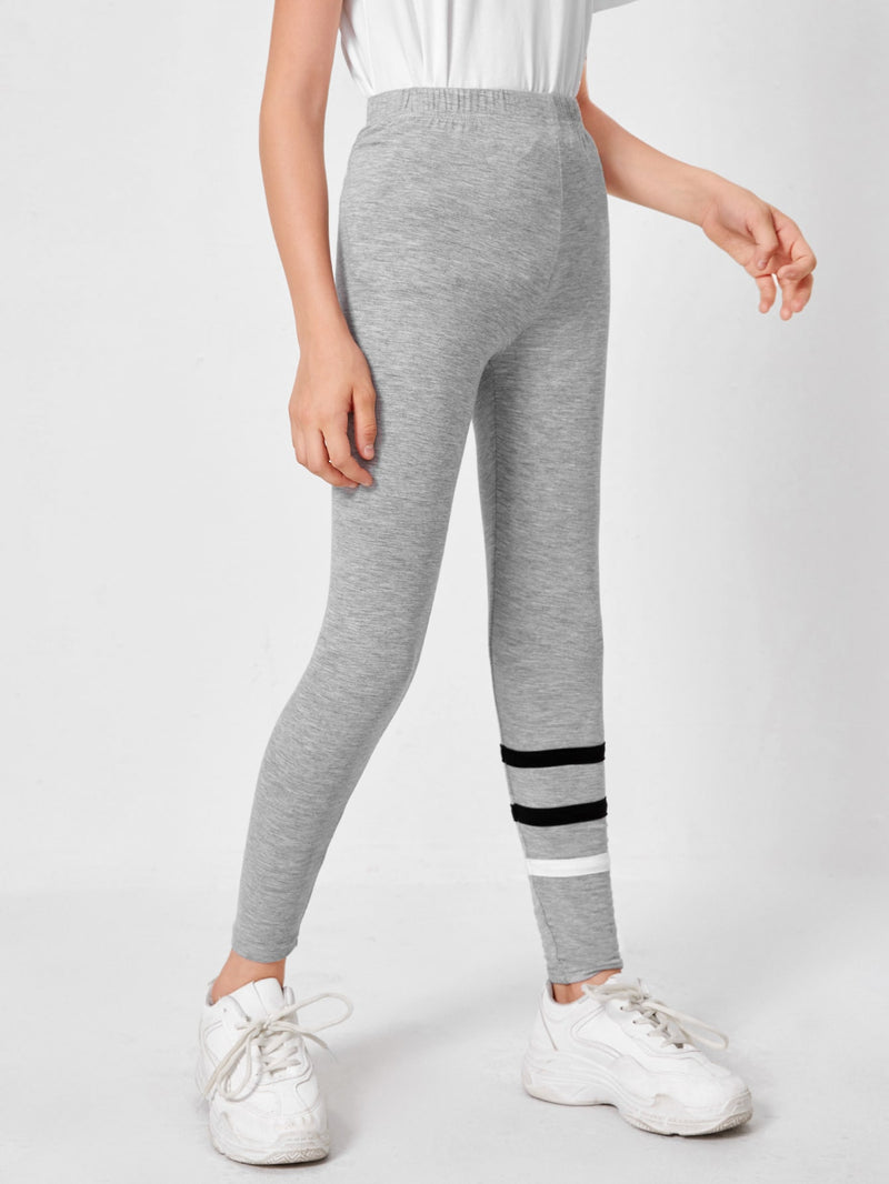 Girls Contrast Striped Leggings