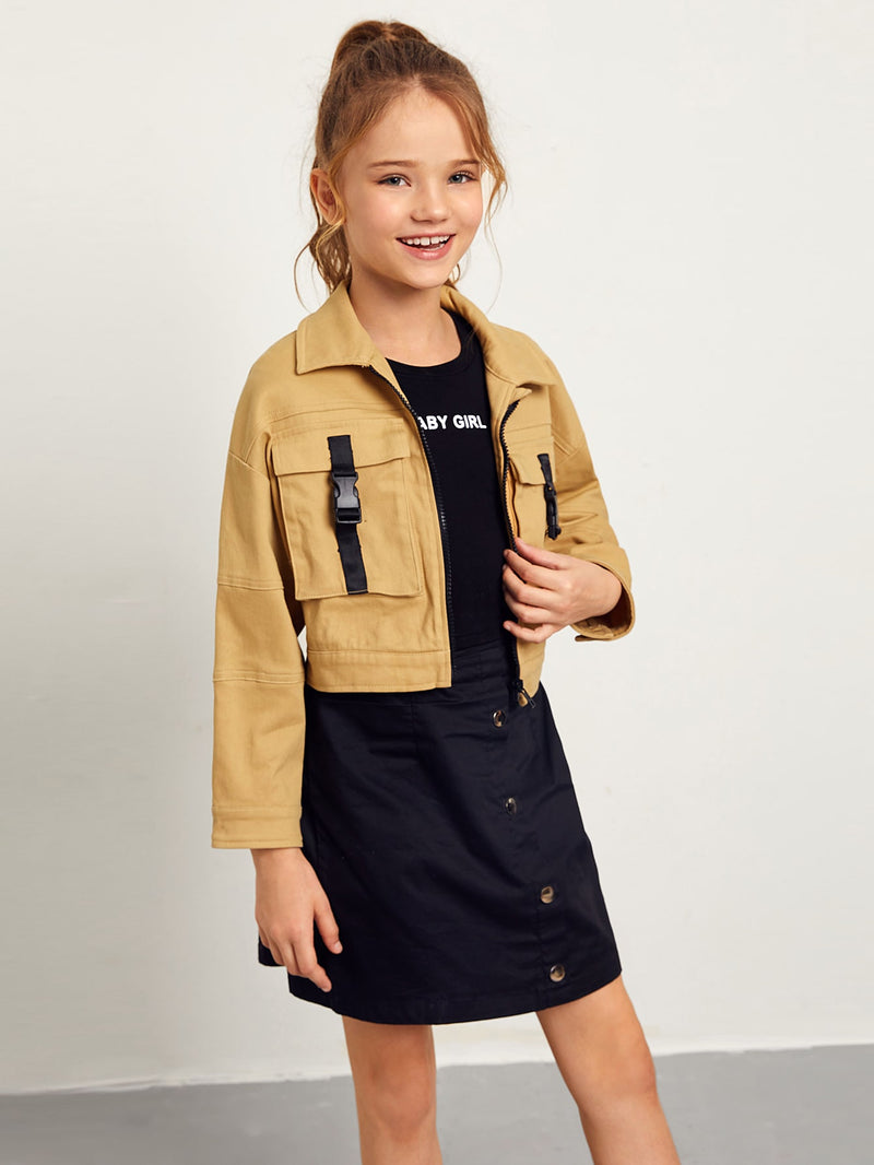 Girls Push Buckle Flap Pocket Front Crop Jacket