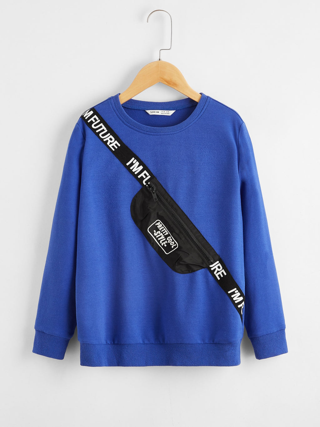 Boys Slogan Tape Bag Print Pullover