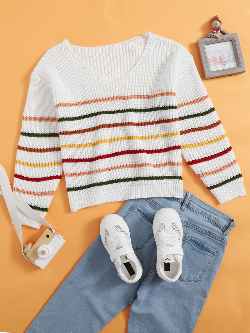 Girls Striped V Neck Sweater