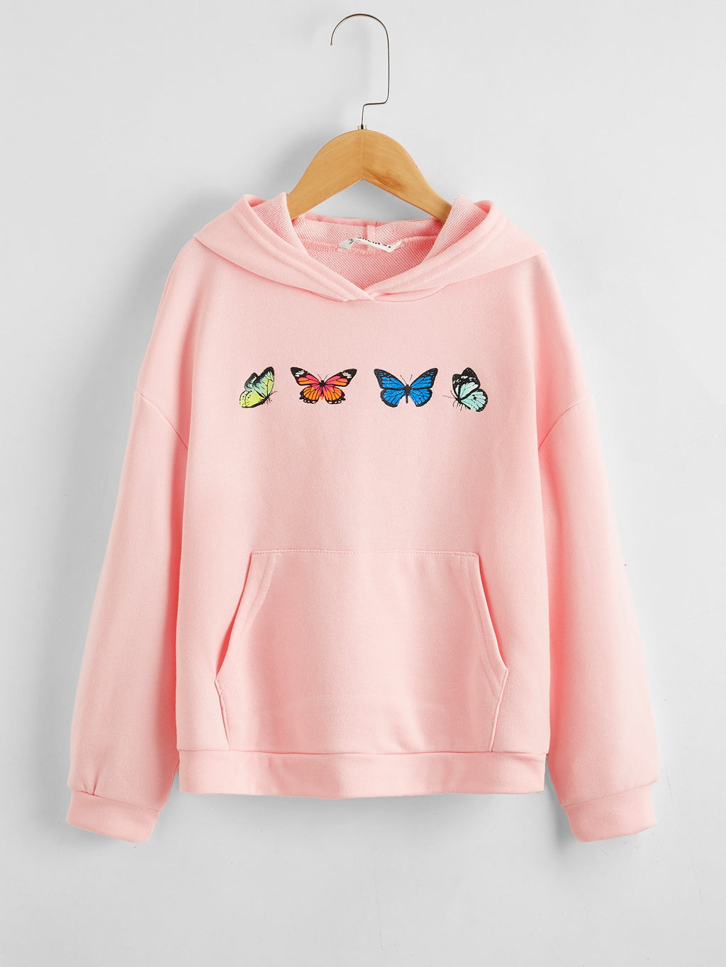 Girls Butterfly Print Pocket Front Drop Shoulder Hoodie