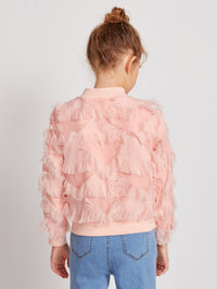 Girls Fuzzy Fringe Trim Bomber Jacket