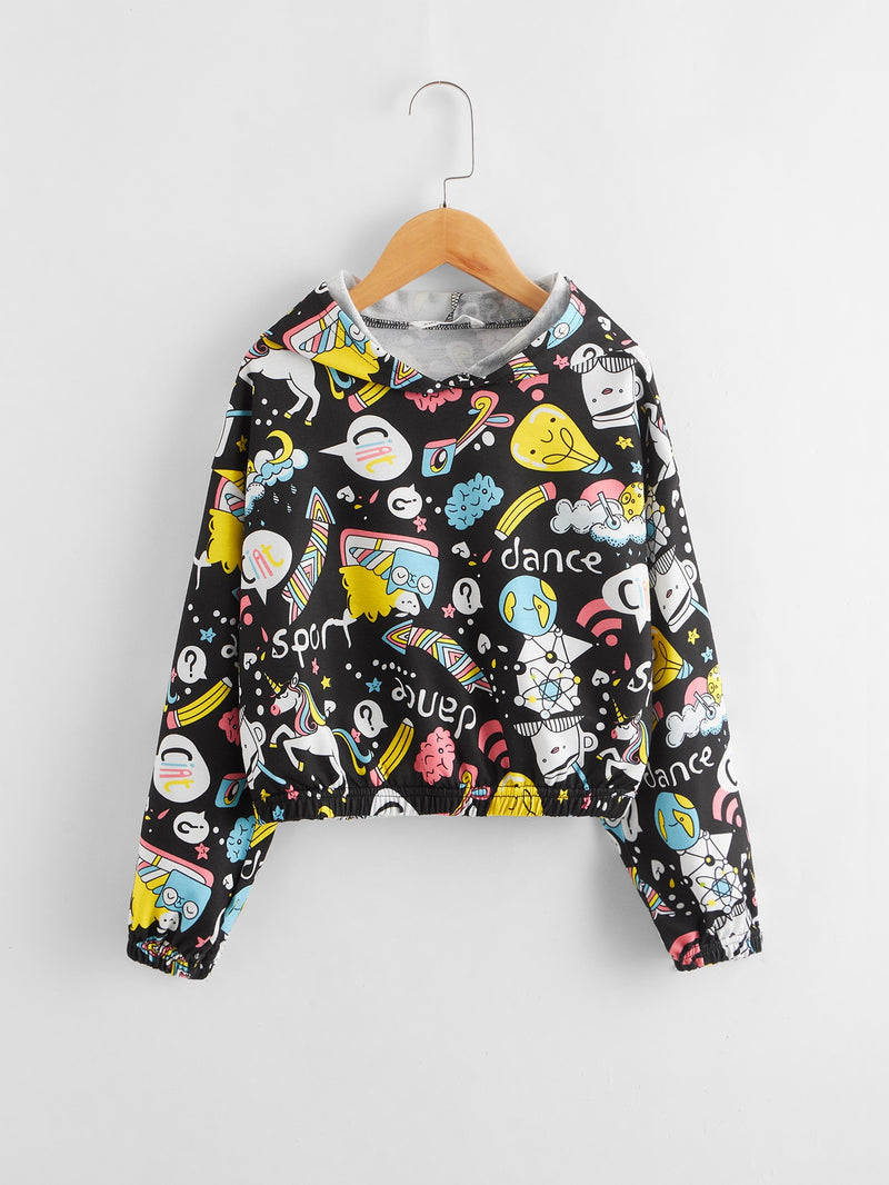 Girls Unicorn and Graphic Print Crop Hoodie