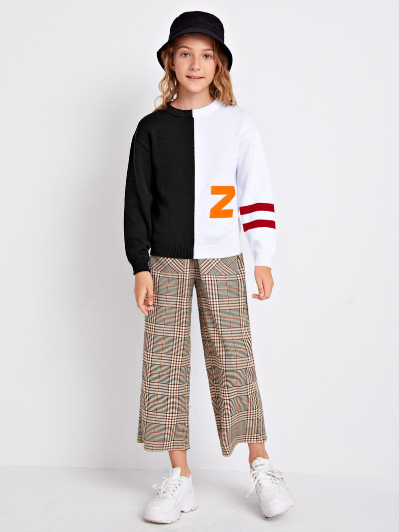 Girls Neon Letter Embroidered Striped Sleeve Colorblock Sweater