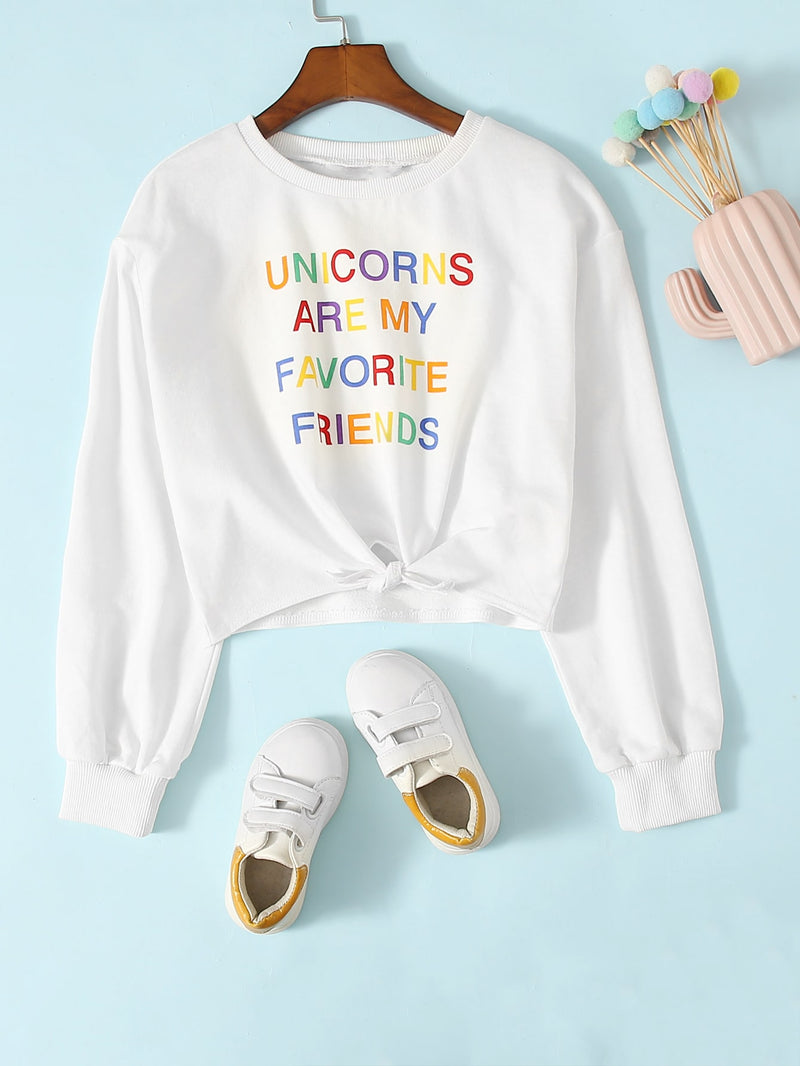 Girls Colorful Slogan Graphic Knot Hem Pullover