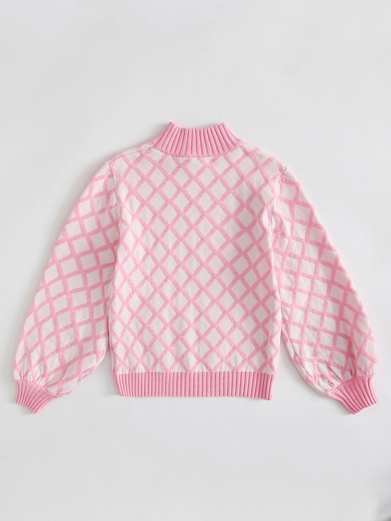 Girls Stand Collar Argyle Sweater