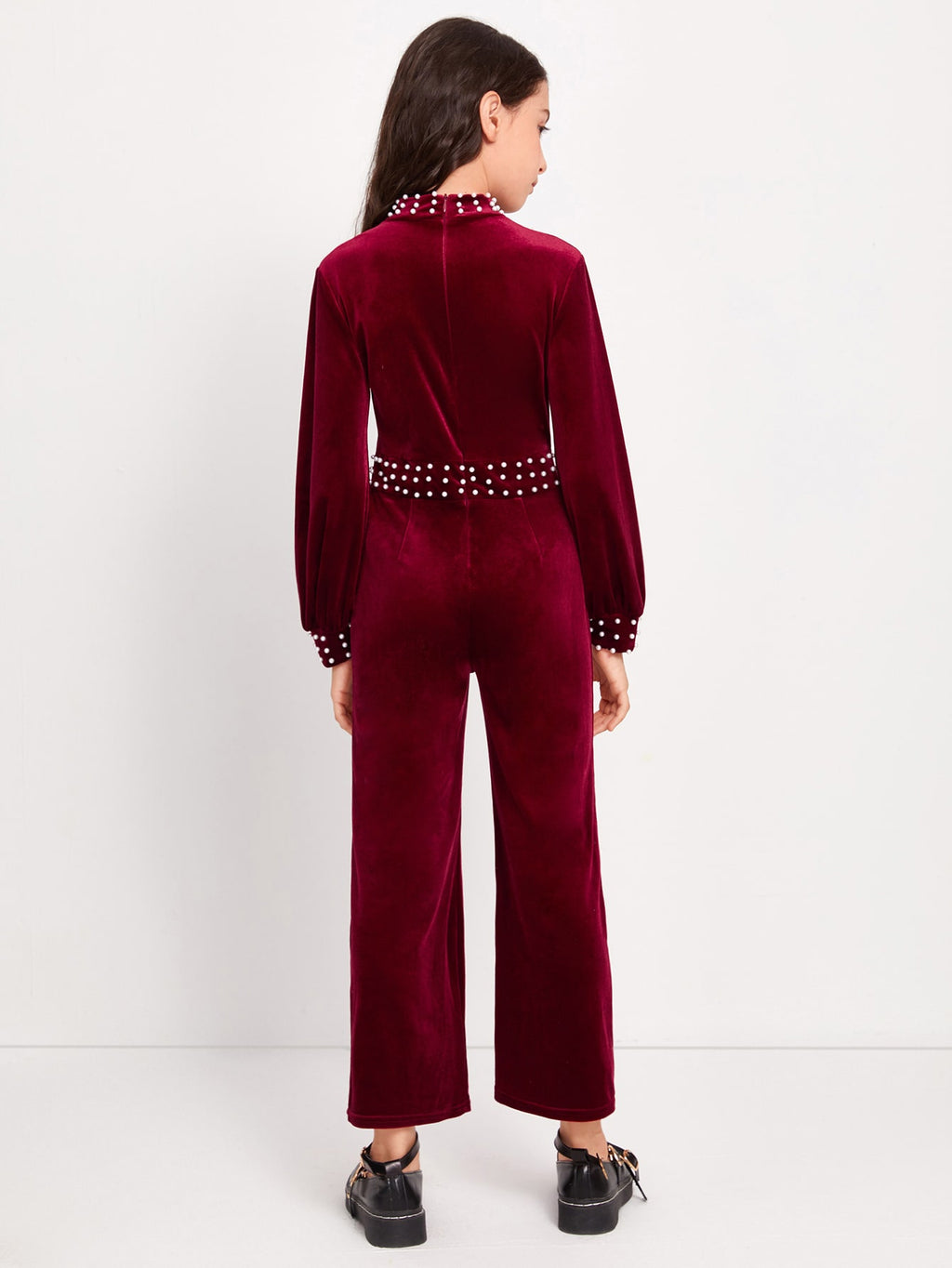 Girls Mock Neck Pearls Beaded Velvet Jumpsuit