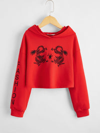 Girls Drop Shoulder Letter and Dragon Print Hoodie