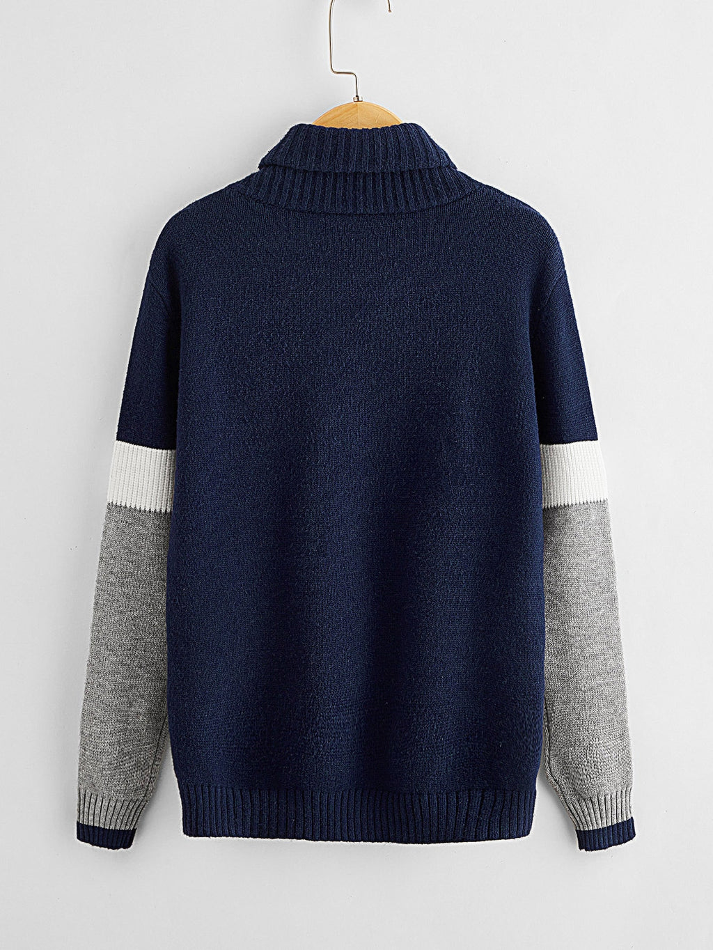 Boys Overlap Collar Colorblock Sweater