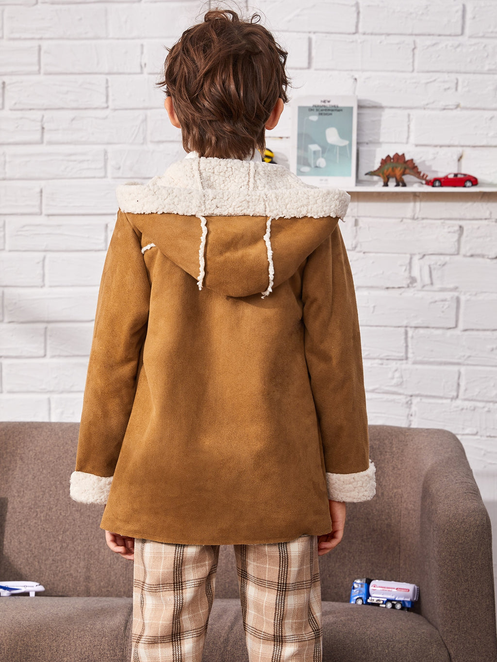 Boys Double Breasted Hooded Coat