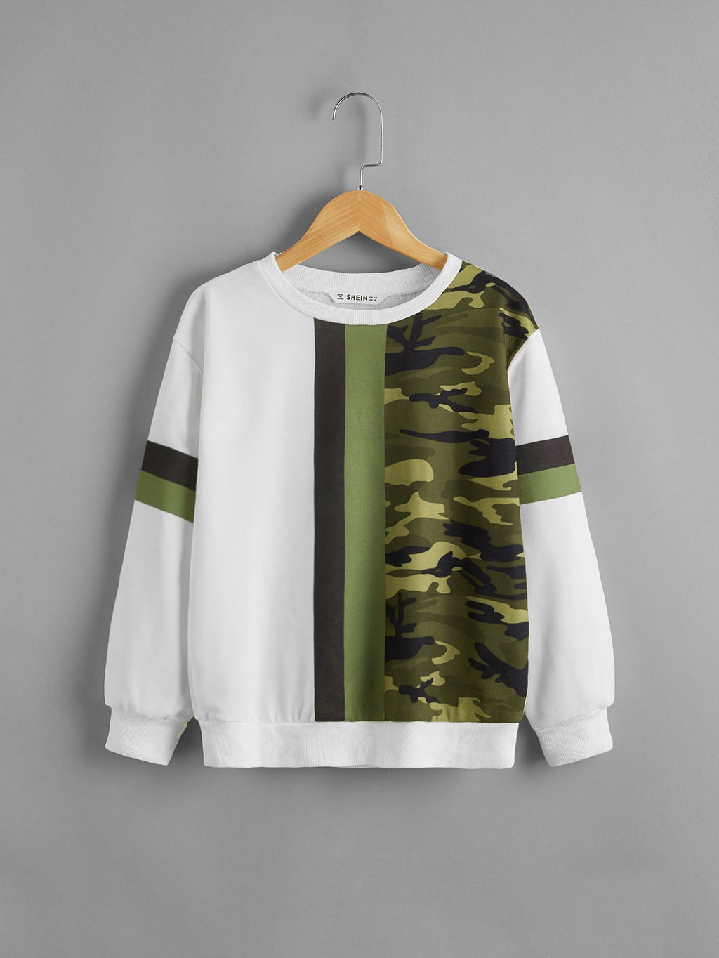Boys Camo Print Drop Shoulder Pullover