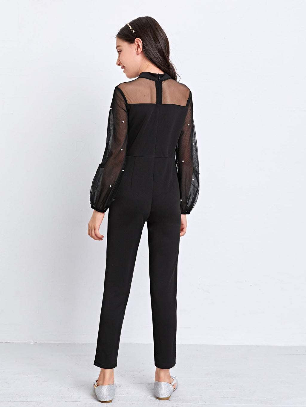 Girls Pearls Beaded Sheer Mesh Yoke Jumpsuit