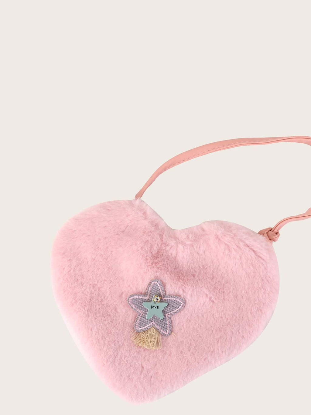 Girls Heart Shaped Fluffy Crossbody Bag