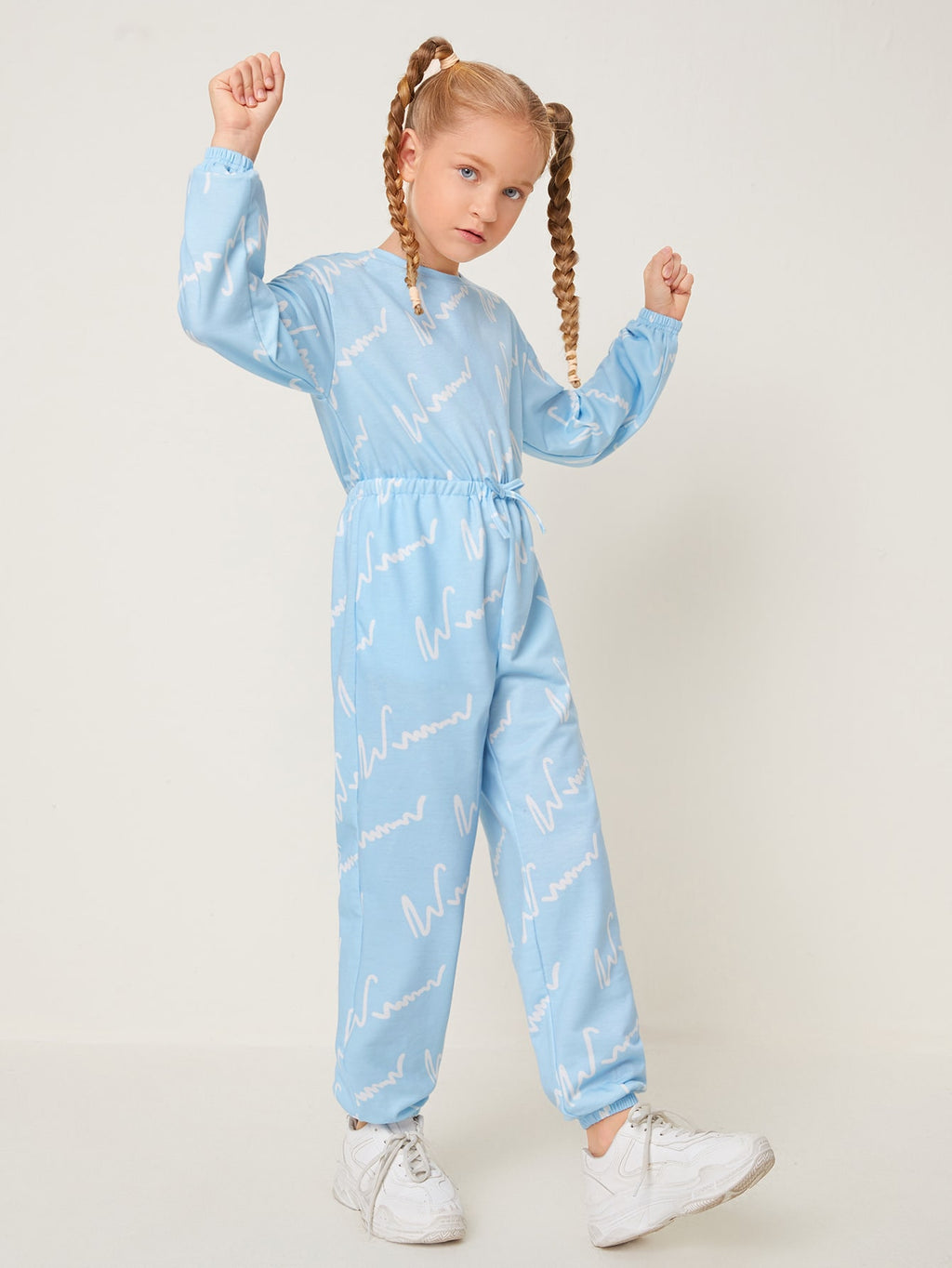 Girls Letter Graphic Knotted Front Jumpsuit