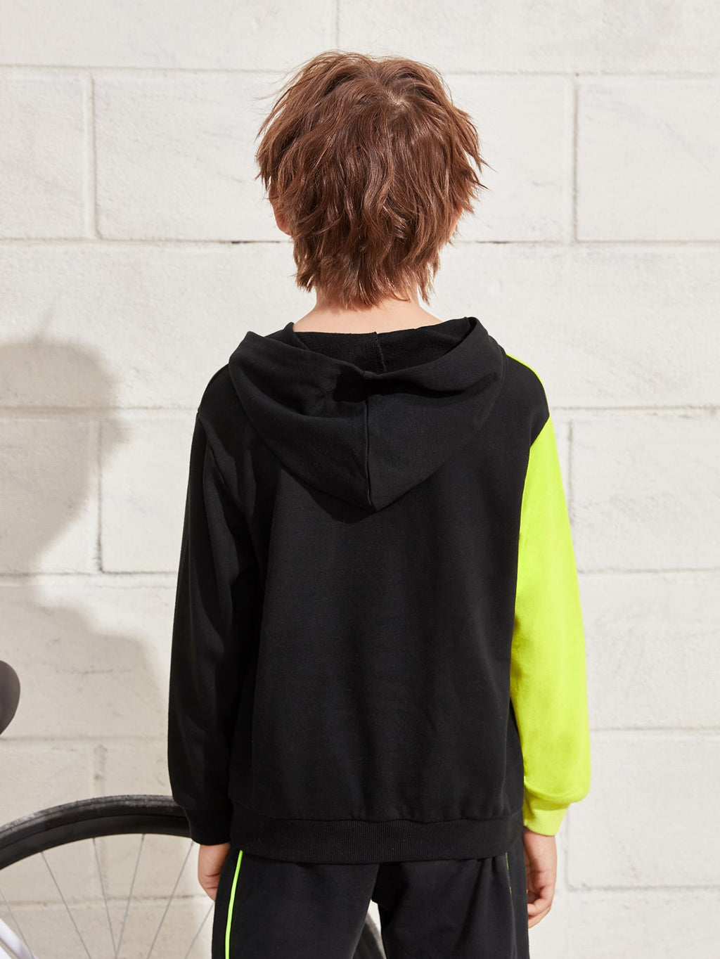 Boys Letter Graphic Color Block Hoodie