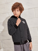 Boys Embroidered Tiger Detail Striped Jacket