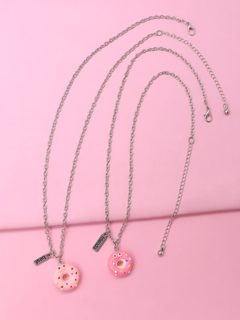 2pcs Toddler Girls Doughnut Pendant Necklace
