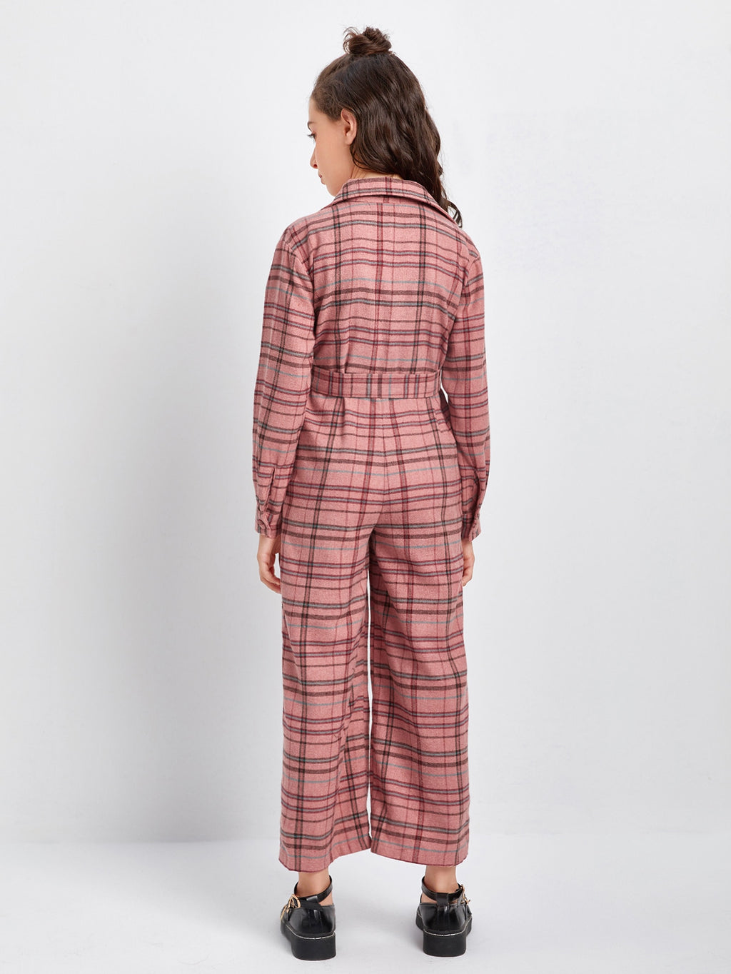 Girls Notched Collar Button Front Belted Plaid Jumpsuit