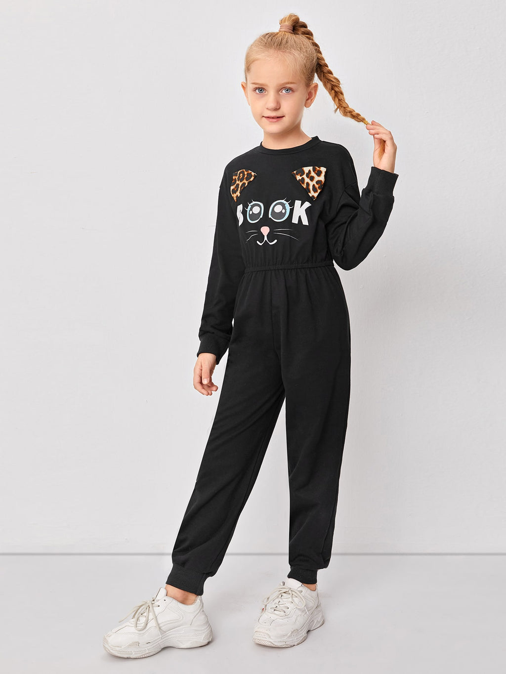 Girls Cartoon Graphic Drop Shoulder Jumpsuit