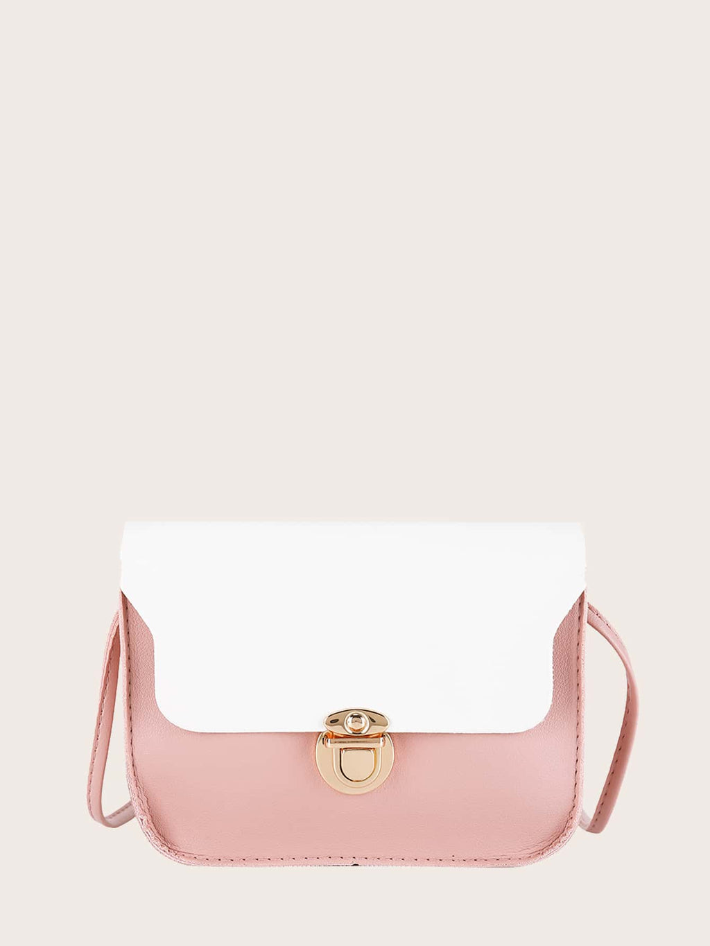 Girls Push Lock Two Tone Crossbody Bag
