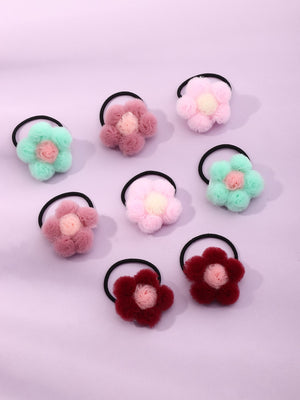 8pcs Toddler Girls Flower Decor Hair Tie