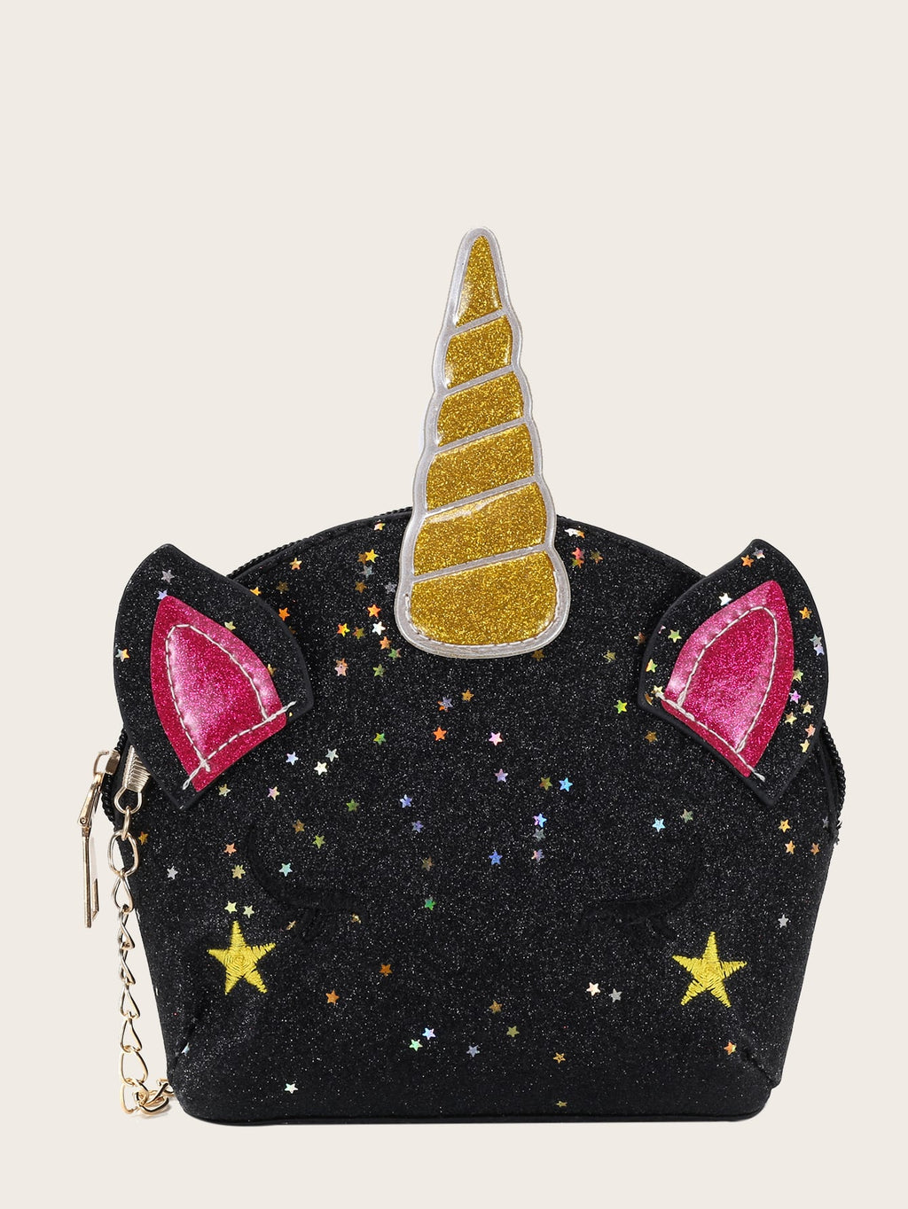 Girls Unicorn Design Glitter Chain Bag