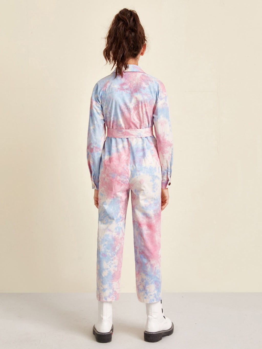 Girls Drop Shoulder Zip Up Belted Tie Dye Jumpsuit