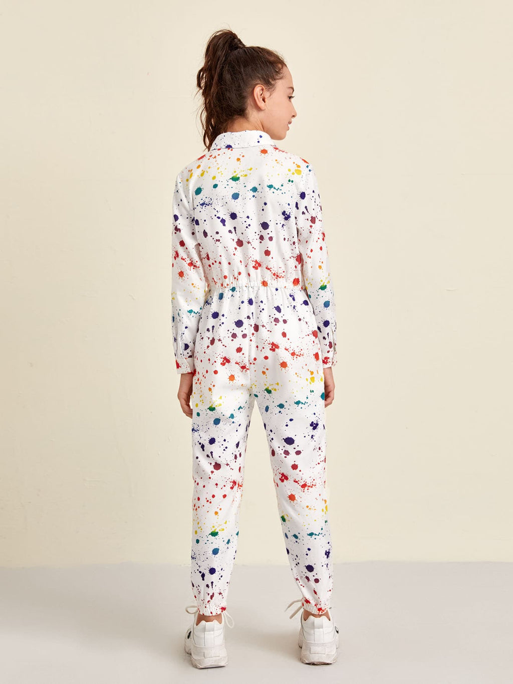 Girls Splash Print Pocket Patched Shirt Jumpsuit