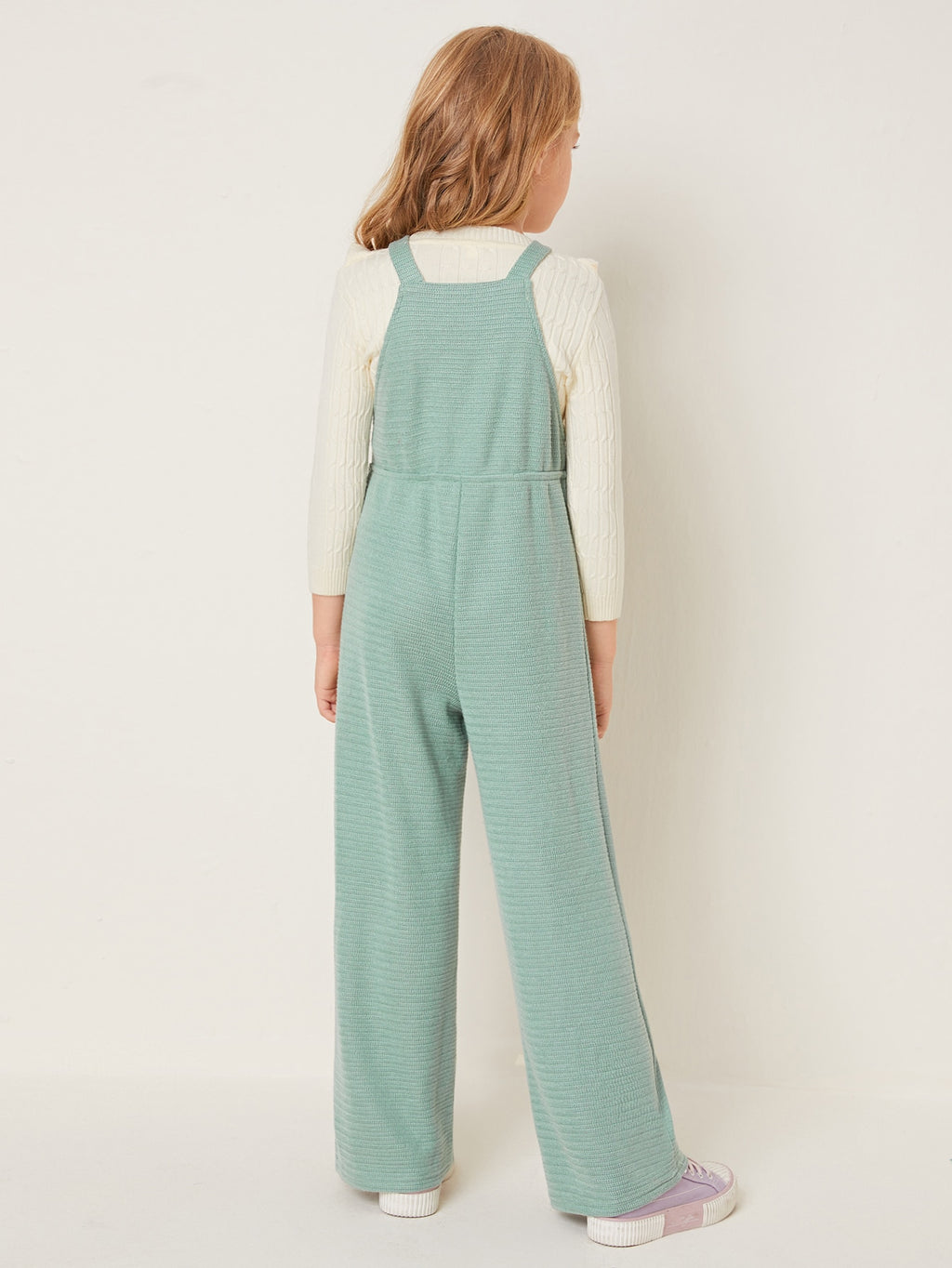 Girls Pocket Front Rib-knit Overall Jumpsuit