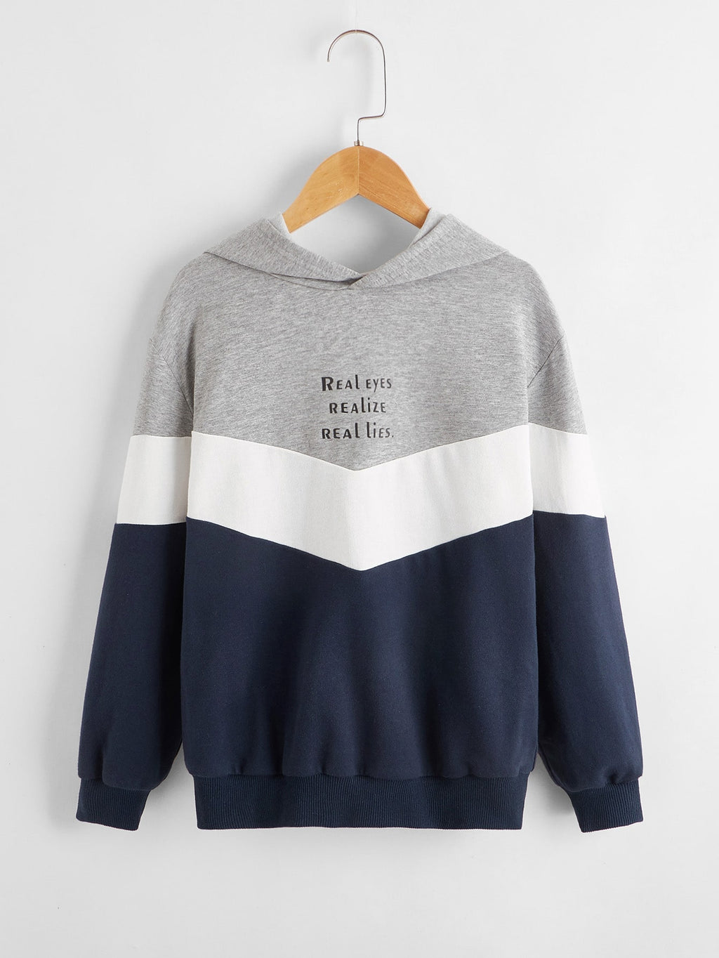 Boys Slogan Graphic Colorblock Hoodie