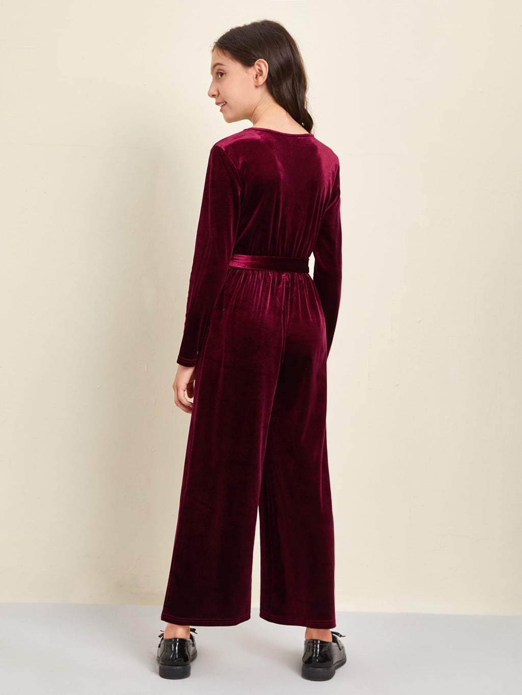 Girls Surplice Neck Belted Velvet Jumpsuit