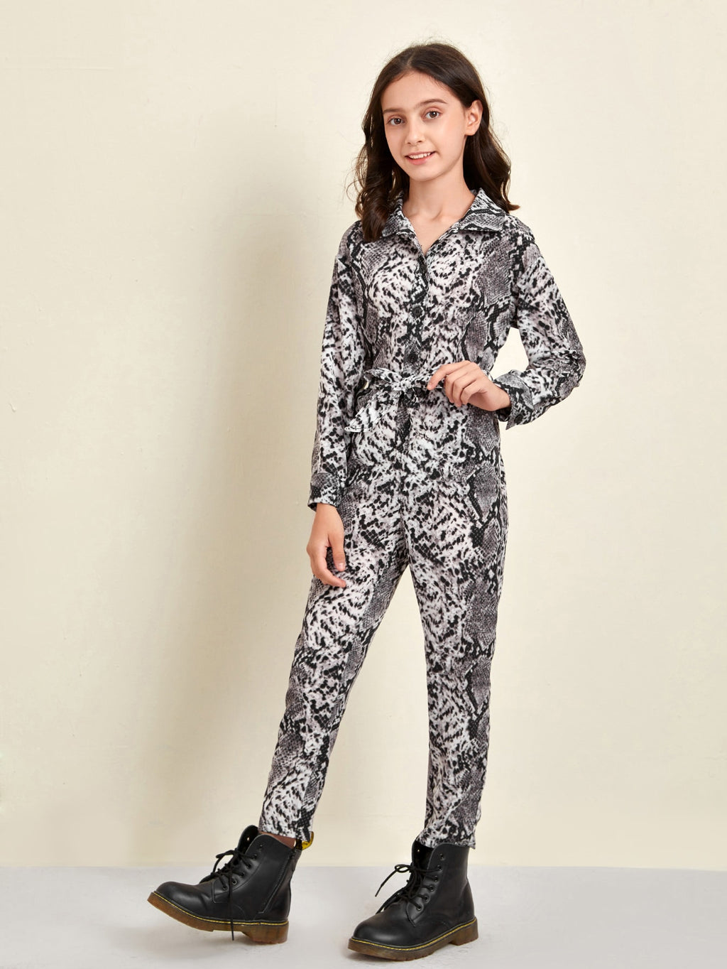 Girls Snakeskin Print Belted Shirt Jumpsuit