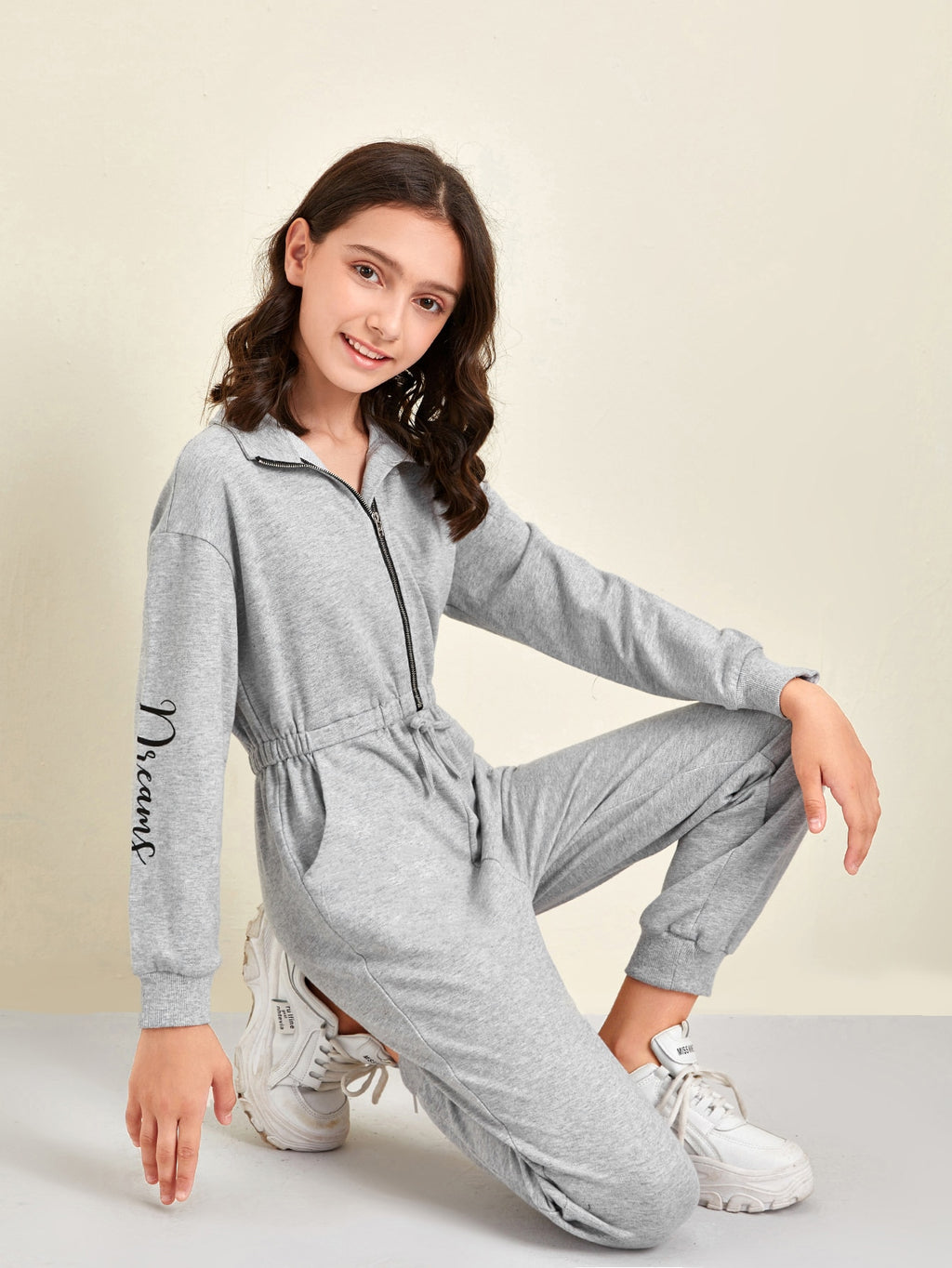 Girls Letter Graphic Knot Front Jumpsuit