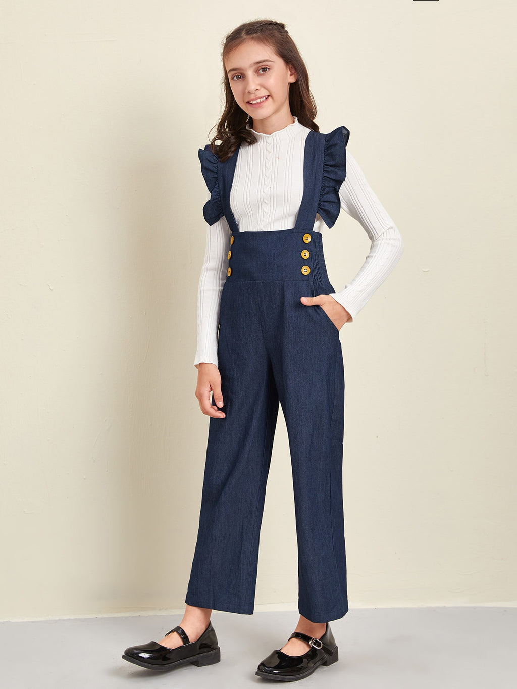 Girls Ruffle Trim Criss Cross Shirred Back Slant Pocket Suspender Jumpsuit
