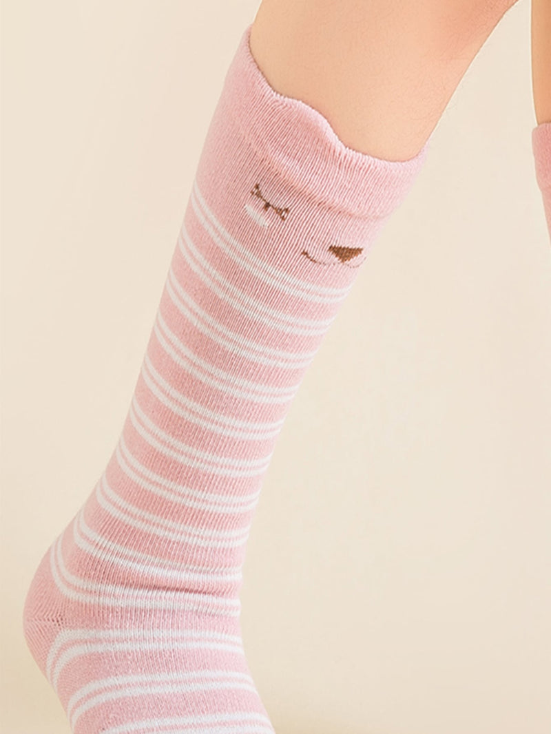 Toddler Girls Cartoon Graphic Striped Socks