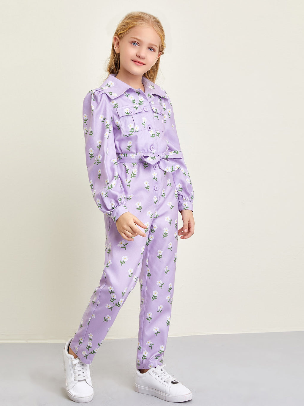 Girls Buttoned Pocket Front Self Belted Floral Jumpsuit