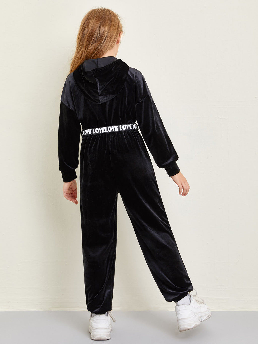 Girls Letter Tape Belted Zip Front Hooded Velvet Jumpsuit