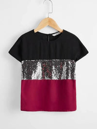 Girls Sequin Panel Batwing Sleeve Two Tone Top - FD