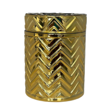Chevron Candle Vessel - Gold