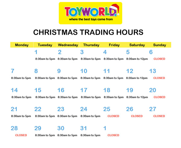 TW Bowen Christmas Trading Hours