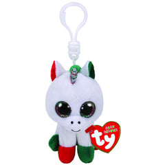 Beanie Boo Clip On Xmas Unicorn Candy Cane - Toyworld