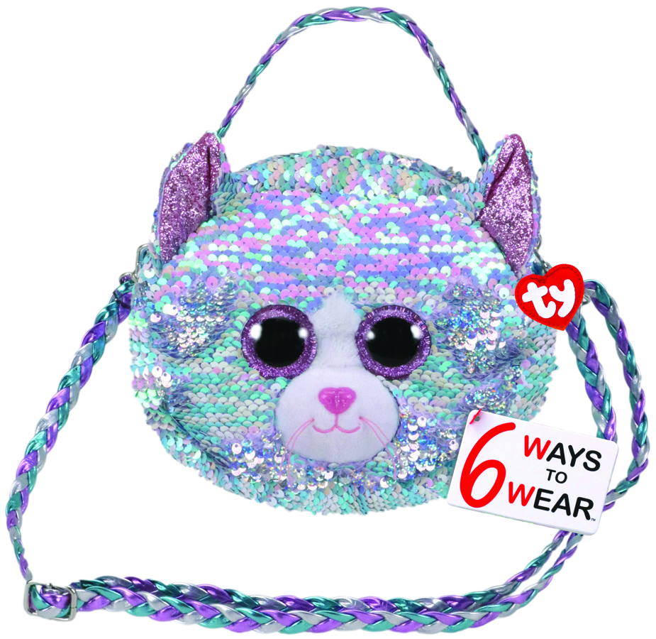 Ty Beanie Boo Sequins Purse Blue Iridescent Cat - Toyworld