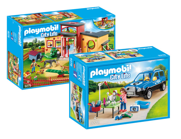 PLAYMOBIL CITY LIFE TINY PAWS PET HOTEL PLUS MOBILE PET GROOMER