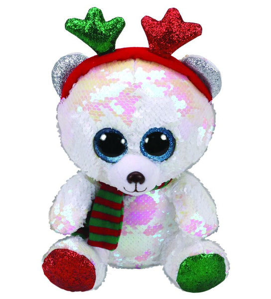 TY BEANIE BOO REGULAR SEQUINS XMAS MISTLETOE BEAR WITH ANTLERS