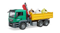 BRUDER 1:16 MAN TGS WITH 3 GLASS RECYCLING CONTAINERS