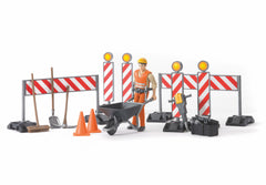 BRUDER CONSTRUCTION FIGURE SET WITH BARROW TOLLS AND BARRIERS