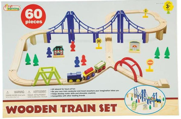 WOODEN TRAIN SET WITH BRIDGE 60 PIECE