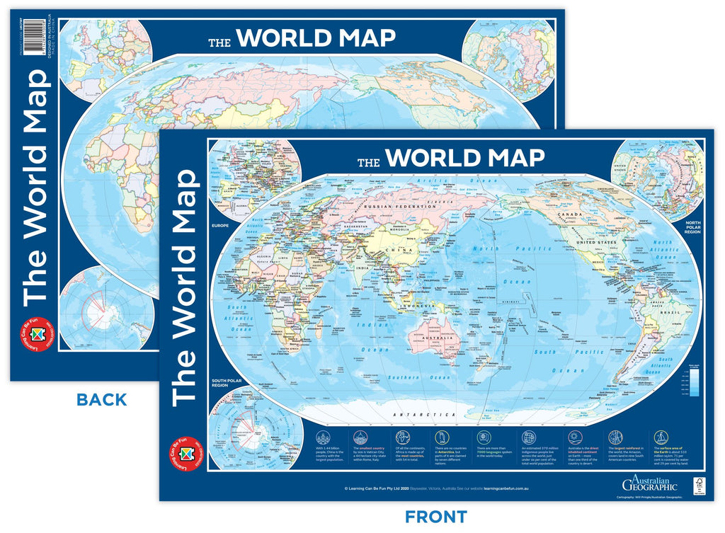 The World Map Double Sided Poster - Toyworld