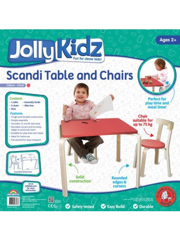 Jolly Kidz Table Chairs Coral - Toyworld